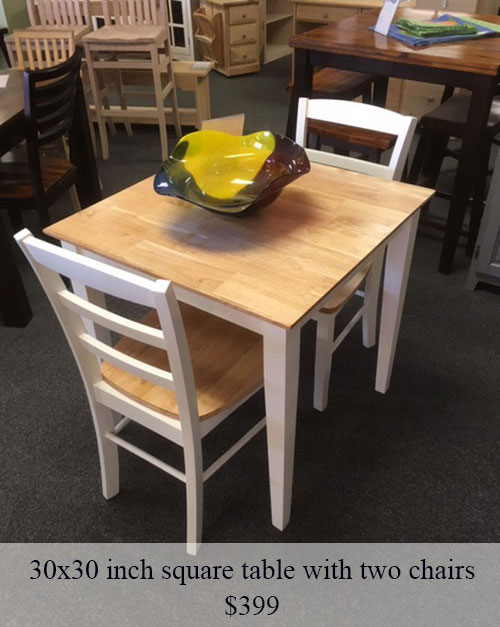30x30 Inch Square Table With Two Chairs   $399