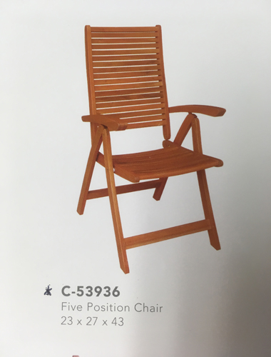 5 Position Outdoor Chair Oiled Acacia Set Of 4 Only 199