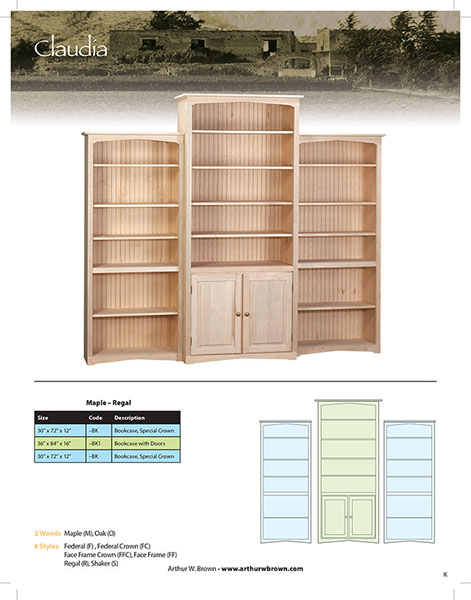Claudia Bookcase Wall Unit Bare Woods Furniture Real