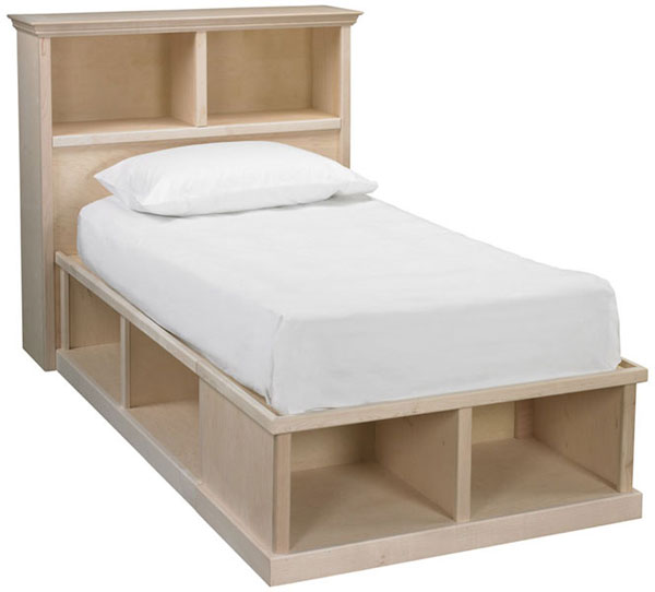 Roma Twin Cubby Bed And Bookcase Headboard Bare Woods