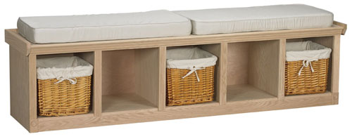 Oak Cubby Bench Bare Woods Furniture Real Wood