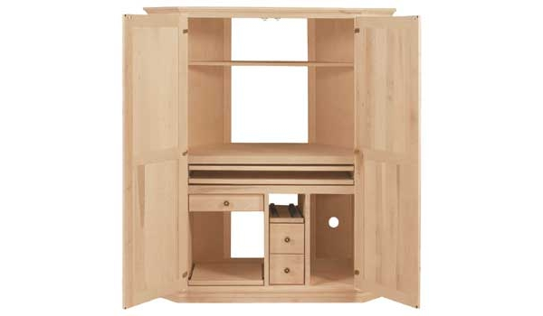 Corner Computer Armoire, Available In Pine, Maple U0026 Oak